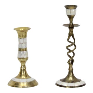 Mid-Century Brass Candle Holder For Sale