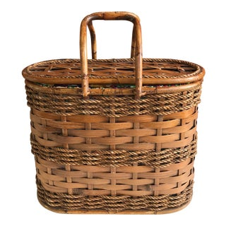 Late 20th Century Bamboo Handled Lined Picnic Basket For Sale