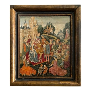 19th Century Medieval Painting Queen and Her Court For Sale