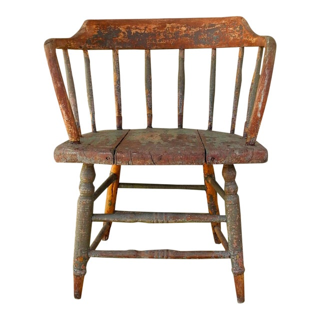 Antique Rustic Painted Saloon Chair For Sale