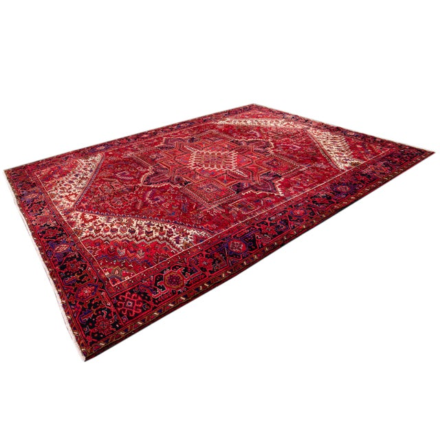 "Vintage Persian Heriz Rug, 10'2"" X 12'10"" For Sale - Image 9 of 12"