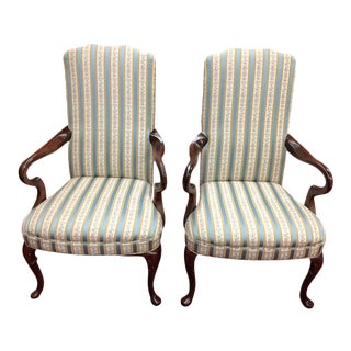 Vintage Queen Anne Upholstered Arm Chairs - a Pair For Sale
