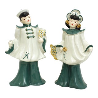 Vintage Florence Ceramics Asian and & Woman Figurines - a Pair For Sale