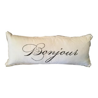 Ethan Allen Block-Printed Bonjour Pillow For Sale
