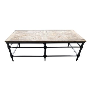 Pottery Barn Parquet Reclaimed Wood Coffee Table For Sale