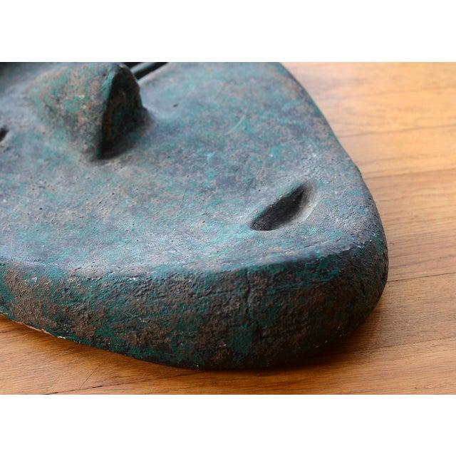 Vintage Modernist Green Ceramic Tiki Face Sculpture For Sale - Image 10 of 13