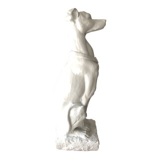 "Large 31"" Ceramic Whippet Statue For Sale"
