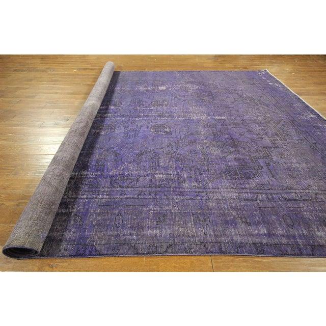 """Purple Overdyed Wool Rug - 9' 7"""" x 12' 9"""" - Image 10 of 10"""