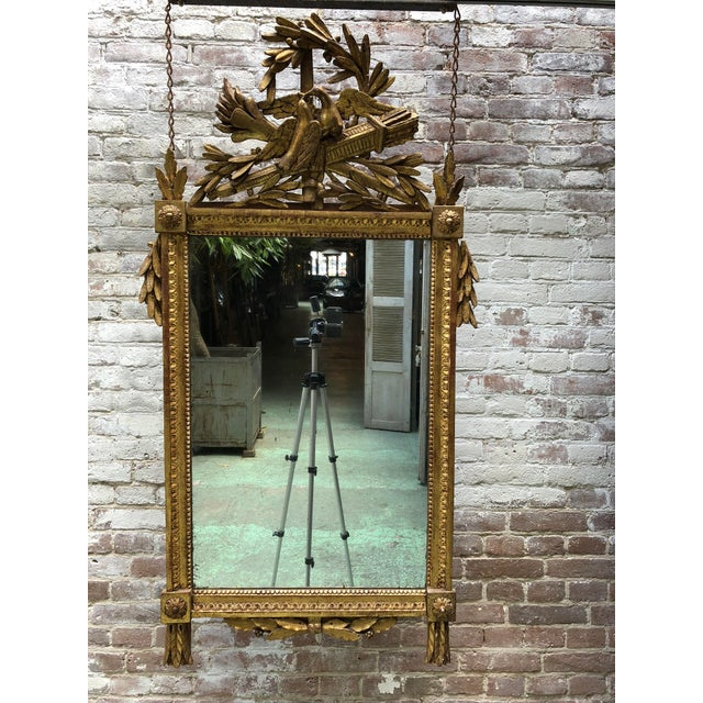 Gold Louis XVI 18th Century Mirror With Two Birds in the Crest For Sale - Image 8 of 8
