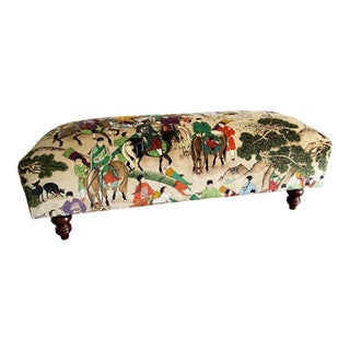 Upholstered Vintage Bench in a Clarence House Style Velvet Fabric For Sale