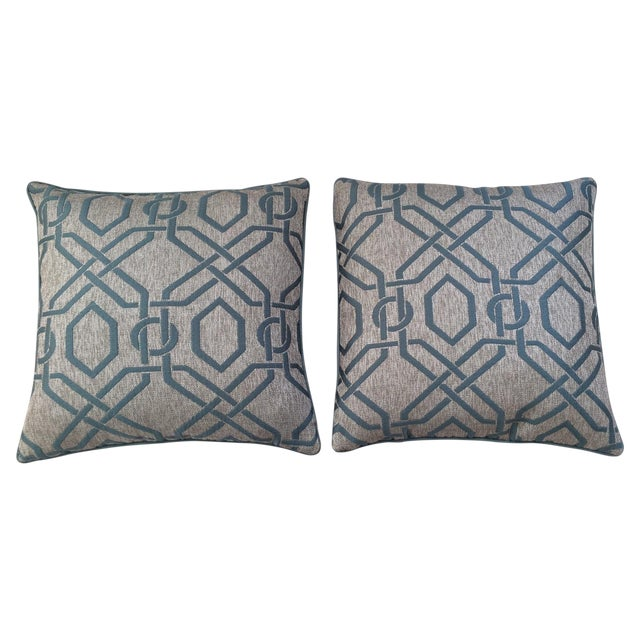 Custom Aqua Blue Geometric Pillows - A Pair - Image 1 of 3