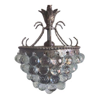 Rare Pair of Silver and Crystal Viennese Chandeliers For Sale