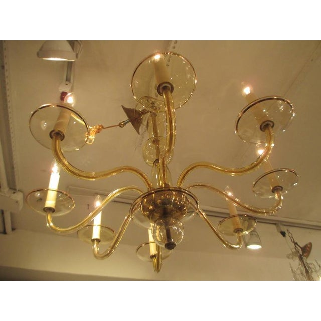 Mid-Century Modern Eight Arms Amber-Colored Murano Glass Chandelier For Sale - Image 3 of 7