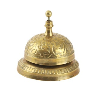 Vintage Ornate Brass Hotel Service Counter Bell For Sale