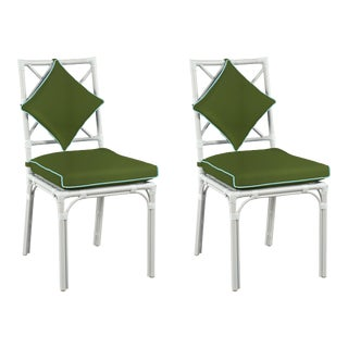 Haven Outdoor Dining Chair, Canvas Palm with Canvas Mineral Blue Welt, Pair For Sale