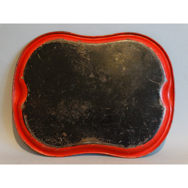 Hand Painted Red & Gilt Tole Tray For Sale - Image 4 of 5