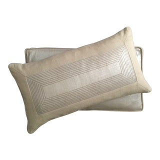 Contemporary Metallic Embroidered Pillows - A Pair For Sale