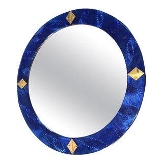 Bespoke Round Brass & Textured Cobalt Blue Murano Glass Mirror For Sale