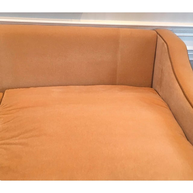 Wood Luxury Mohair & Leather Trim Sofa For Sale - Image 7 of 9