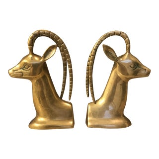 Brass Gazelle Bookends - a Pair