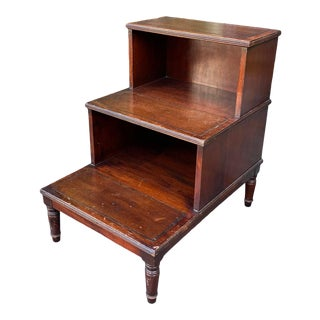 Antique English Library Steps Nightstand or End Table For Sale