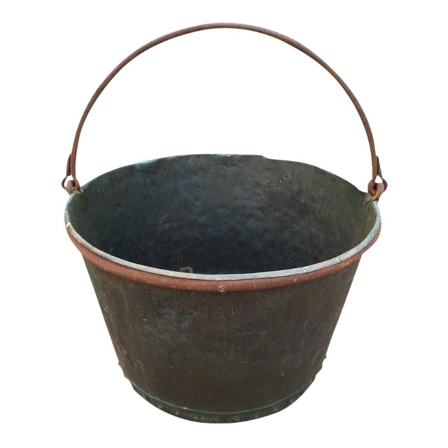 Large Early 19th Century Riveted Copper Log Holder For Sale