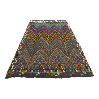 Vintage Turkish Fethiye Nomads Kilim Embroidery Rug For Sale