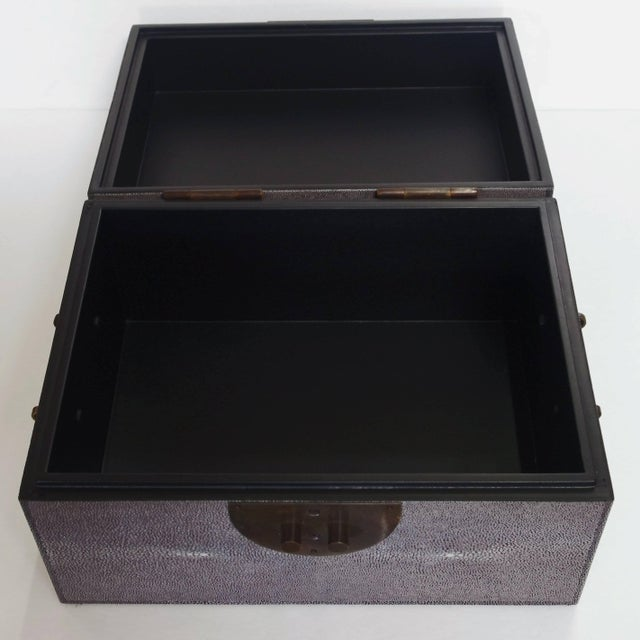 Animal Skin Gray Shagreen Wood Box For Sale - Image 7 of 8
