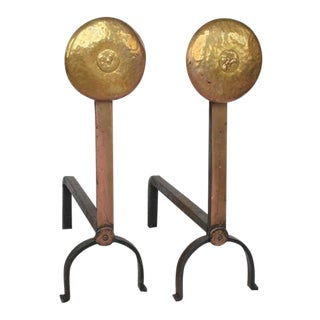 Early 20th C. Vintage American Hand-Hammered Brass Andirons- A Pair For Sale