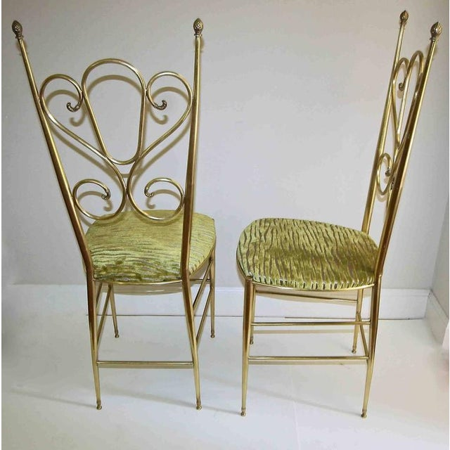 1950s 1950s Italian all Back Brass Chiavari Side Chairs - a Pair For Sale - Image 5 of 11