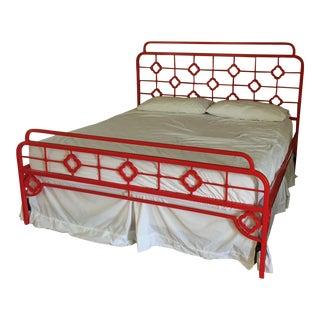 Boho Chic Chinoiserie Red Steel King Bedframe