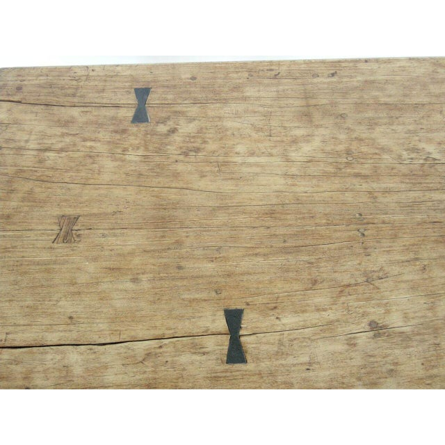 Tan Striped Wood Coffee Table with Drawer with Butterfly Joinery For Sale - Image 8 of 10