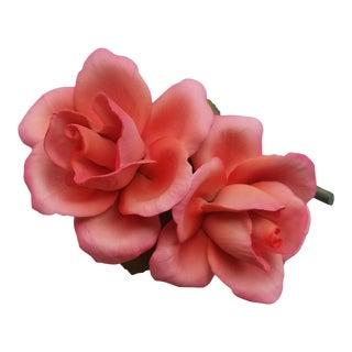 Vintage Capodimonte Porcelain Roses For Sale