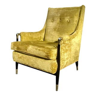 A MCM Black Lacquer and Gold Lounge Chair in the Manner of Giuseppe Scapinelli For Sale
