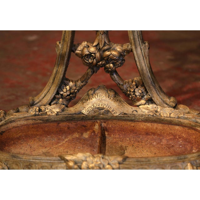 Green 19th Century French Painted and Gilt Cast Iron Hall Stand Signed Corneau Freres For Sale - Image 8 of 10