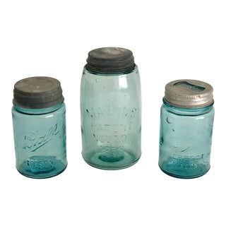 Vintage Mason Jars - Set of 3 For Sale