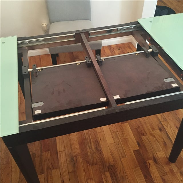 Mixed Media Glass and Wood Covertible Dining Table - Image 7 of 7