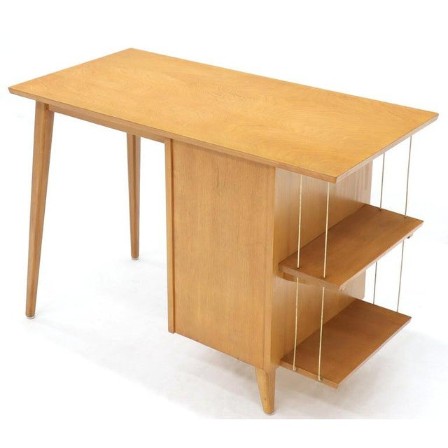 Wood Light Birch Single Pedestal Petit Desk With Bookcase and Three Drawers For Sale - Image 7 of 12