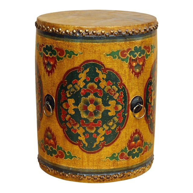 Drum Shaped Coffee Table.Distressed Oriental Chinese Tibetan Drum Shape Yellow Floral Coffee Side Table