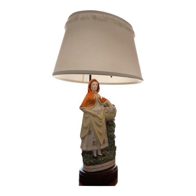 Antique English Staffordshire Ceramic Table Lamp For Sale