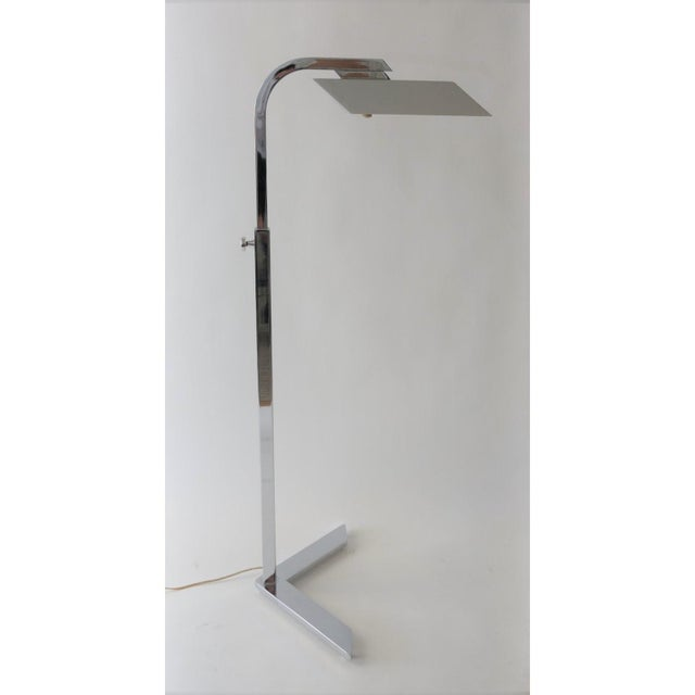 Vintage Casella style floor lamp - adjustable polished chrome - from a Palm Beach estate Adjusts from a low height of 58...