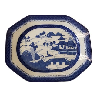 Large Blue Canton Charleston Collection Platter by Mottahedeh For Sale