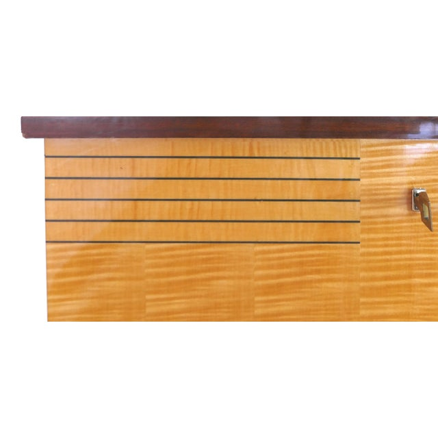 Ameublement Nf Mahogany and Satinwood Credenza With Brass Hardware From France For Sale - Image 12 of 13