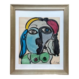 Late 20th Century Abstract Face Portrait Painting by Peter Keil, Framed For Sale