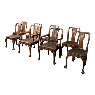 Antique Chippendale Chairs Includes 2 Armchairs - Set of 8 For Sale