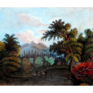 1855 - 1860 Early American Pastel Landscape Painting For Sale