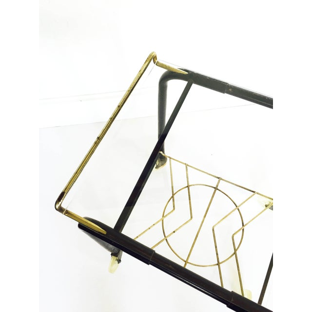 Mid-Century Black & Gold Atomic Bar Cart - Image 5 of 6