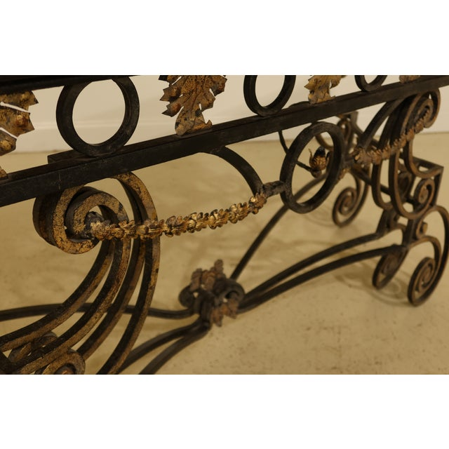 Brown Wrought Iron Base Console Table with Maple Top For Sale - Image 8 of 13