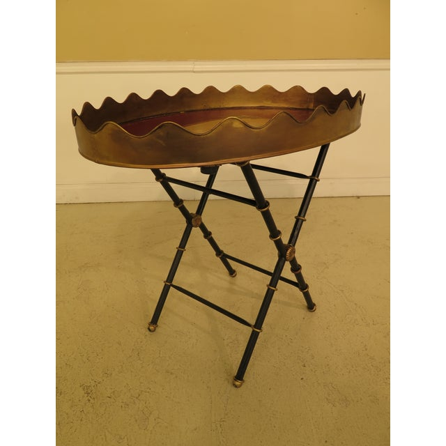 Traditional Sarried Tole Paint Decorated Serving Tray Table For Sale In Philadelphia - Image 6 of 13