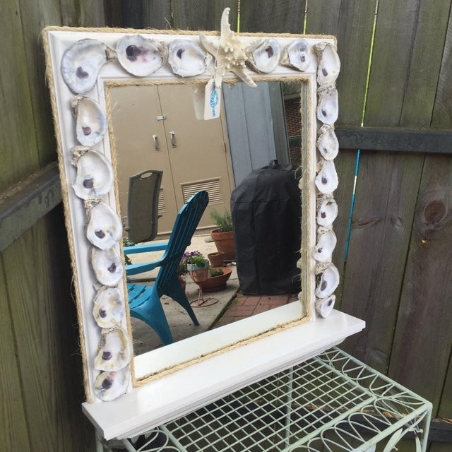 Oyster Shell Wood Framed Mirror with Shelf - Image 2 of 5